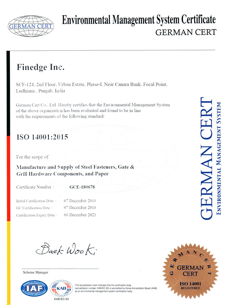 ISO Certificate Finedge Paper India